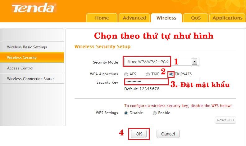 cách đổi pass wifi tenda bước 2